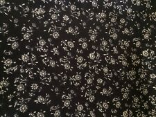 New Floral Cotton Fabric Brown White Vintage Material Flowers Craft Quilting Sew
