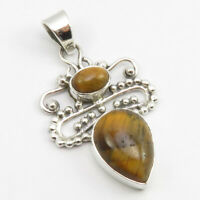 """925 Sterling Silver Authentic Oval, Drop Tiger's Eye 2 Stone Pendant 1.7"""""""