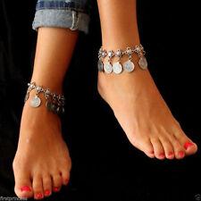 Silber Boho Zigeuner Münze Fußkettchen Knöchel Armband Fuß Kette DamenSchmuck