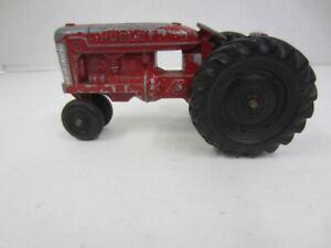 """Vintage HUBLEY Kiddie Toy Red Die-Cast Metal Farm Tractor 5 1/2"""" Long"""