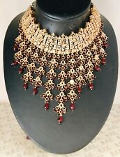 Gold maroon choker necklace indian pakistani hijab bride kundan glass stone prom