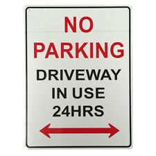 3x WARNING NOTICE SIGN NO PARKING DRIVEWAY IN USE 24HRs 225x300mm Metal 16003023