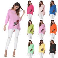 Femmes Dame Broderie Rose T-Shirts Blouse Décontracté Chemisier en vrac Tops