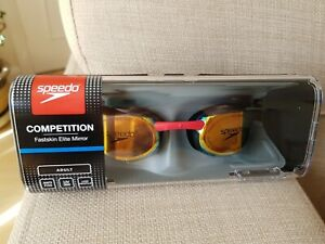 New Speedo Competition Fastskin Elite Mirror Anti Fog Goggles UV380 Black Red
