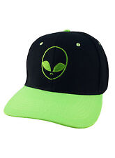 ALIEN FACE EMBROIDERED SNAPBACK CAP SCI FI SLOGAN BLACK AND GREEN BASEBALL HAT