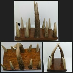 Deer Antler Desk Letter Rack Sculpture VTG Wooden Base or Toast / Napkin Holder