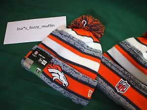 Denver Broncos New Era knit pom hat beanie NEW Tags OnField AUTHENTIC! 2014-15