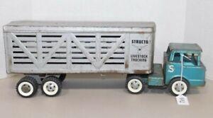 Vintage Structo Cattle Livestock Trucking Press Steel Semi Truck & Trailer
