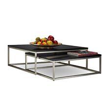 Relaxdays Flat Set tavolini da salotto sovrapponibili legno Nero 75x75x27....
