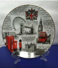 London Plates With Display Stand British Souvenir Gift, Diameter 15 Cm