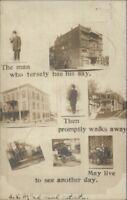 Multi View - Whitesboro NY Written on Back & Cancel c1910 Real Photo Postcard