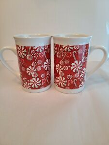 Royal Norfolk Pair Peppermint Candy Coffee Latte Mug Cup Vintage 12 Oz MINT