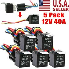 5 Pack 30/40 Amp 5-Pin SPDT Automotive Relay with Wires & Harness Socket Set 12V