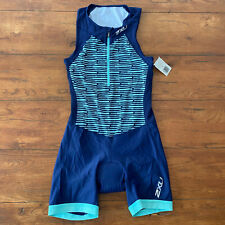 2XU Womens Medium Trisuit Blue Triathlon Skinsuit M Sleeveless Cycling Swim Run