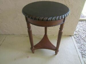 Vintage Bombay Carved Wood Round End Table Top Painted in Black