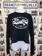 New! brandy melville Black Race Kart Europe nancy crop graphic sweatshirt NWT
