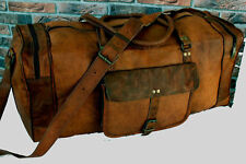 """25"""" Real Goat Leather Large Travel Hand Luggage Duffel Gym Bag Holdall Weekend"""