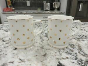 2 Grace's Teaware Gold Polka Dot 12 oz. Mugs With Gold Trim EUC