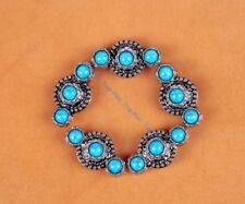 6PCS 40*32 Turquoise Flower Antique Silver Leathercraft Hardware Decor Conchos