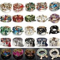 Bohemian Multilayer Natural Stone Crystal Elastic Bracelet For Women Charm Gift