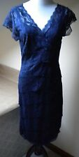 Helene Blake Navy Lace Sheath Nylon/Spand C-Sleeve Cocktail K-Length 4-6 Dress.