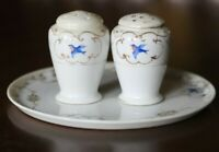 Antique Hand painted Nippon /salt and Pepper Shakes with Underplate Swallows