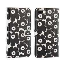"For iPhone 7 4.7"" Black White Flower Design Leather Wallet Card Case Cover Stand"