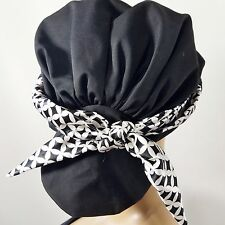 Scarf Beanie Hat Headcovers Low Pony Tail Womens Head Cover Black White Scarf