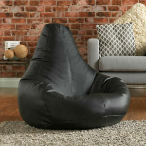 Faux Leather Gaming Bean Bag Chair, Recliner Beanbag Seat Cover Adult Size Black