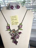 """Vintage Enamel Lily Necklace 20"""" Pierced Earrings 3/4"""" X 1 1/4"""""""