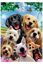 Group Photo of Joyful Pet Dogs Garden Flag House Banner Courtyard Flag Decor