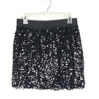 Willi Smith Skirt Size Medium Black Sequin Lined Elastic Waistband Club Party