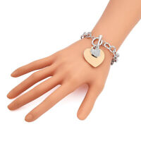 New Fashion Punk Crystal Love Heart Charms Bracelet Chain Bangle Jewelry Gift CR