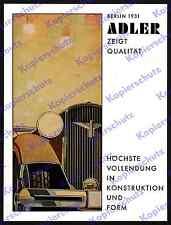 Zoberbier Farbreklame Auto ADLER Primus Cabrio Frankfurt Art Deco IAA Berlin ´31