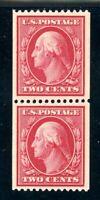 USAstamps Unused VF US Washington Coil Pair Perf 12 Scott 391 OG 1 MNH, 1 MHR