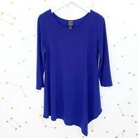 Clara Sun Woo Tunic Top Size Small S Blue Asymmetric Long Sleeves Stretch Knit