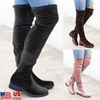 Womens Over The Knee High Flat Ladies Long Zip Up Faux Suede Thigh High Boots
