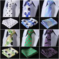 Hot Sale Dot Paisley Men Neckties  Woven Silk Wedding Tie Handkerchief Set #M3