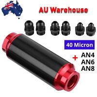 7 Pcs AN6 AN8 AN10 Adapters 40 Micron Billet Inline Fuel Oil Petrol Filter NEW