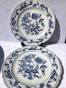 """Blue Danube Blue Onion  Blue and White Dinner Plates 10-1/4"""" (2 plates) Us Pat."""