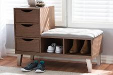 Modern Entryway Storage Bench Mid Century Cushion Upholstered 3 Drawer Walnut