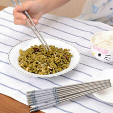 """8.9"""" Length Chinese Style White Vine Pattern Stainless Steel Reusable Chopsticks"""