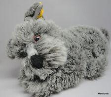Steiff Kuschel Dog Cuddle Lying Schnauzer 30cm 12in Plush ID Button Tag 1993 Vtg