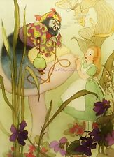 ALice In Wonderland in Green Vintage Illustration Caterpillar 8x10 Fabric Block