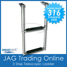 AQUATRACK 316 MARINE GRADE STAINLESS STEEL 2-STEP TELESCOPIC BOAT TRANSOM LADDER