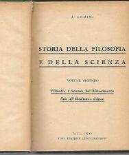STORIA DELLA FILOSOFIA E DELLA SCIENZA - Vol. II - Aristodemo CODINI