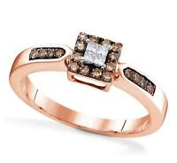 Chocolate Brown & White Diamond Ring 10K Rose Gold Cluster .25ct Size 5 - 10