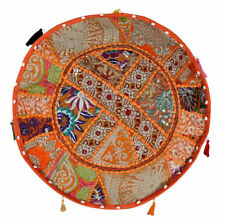 """18"""" Handmade Patchwork Round Ottoman Pouf Cover Vintage Footstool Pouffe Indian"""