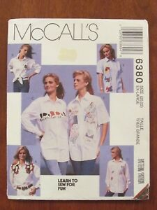 McCALL'S PATTERN - 6380 LADIES SHIRT LEARN-TO-SEW APPLIQUE XL 20-22 PLUS UNCUT