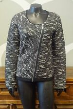DOLCEZZA Black White Tweed Knit Wool Asymmetrical Zip Cardigan Sweater - Medium